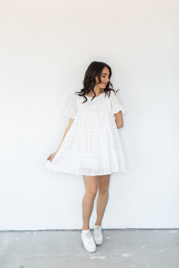 Tiered Babydoll Dress - White