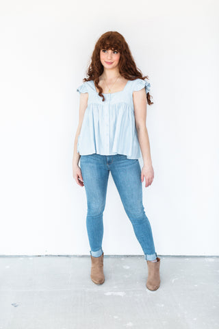 Thermal Peplum Shirt - White