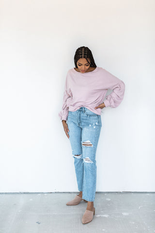 Ribbed Boatneck Sweater - Hot Pink