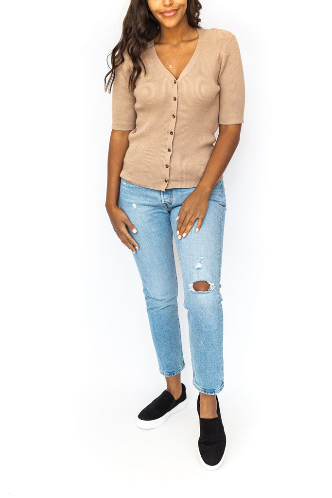Button Down Ribbed Top - Mocha