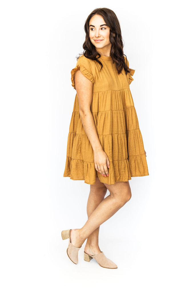 Solid Tiered Baby Doll - Caramel