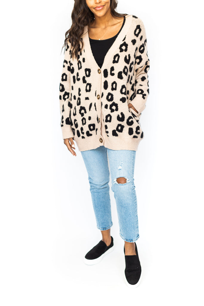 Cheetah Button Up Cardigan