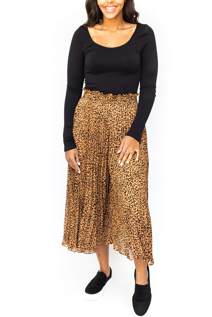 Pleated Wide Leg Pants - Leopard