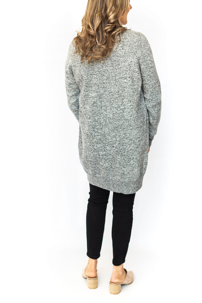 Marled Open Cardigan with Pockets