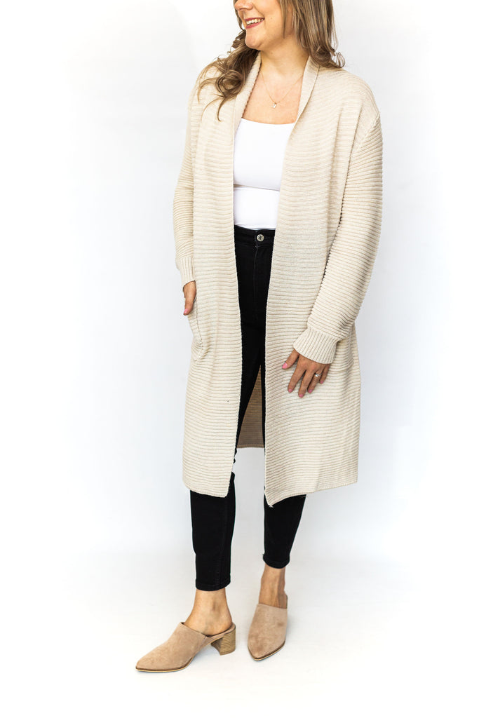 Ribbed Cardigan with Pockets - Ivory