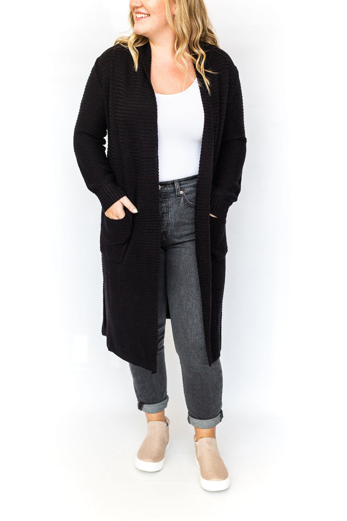 Ribbed Cardigan with Pockets - Black