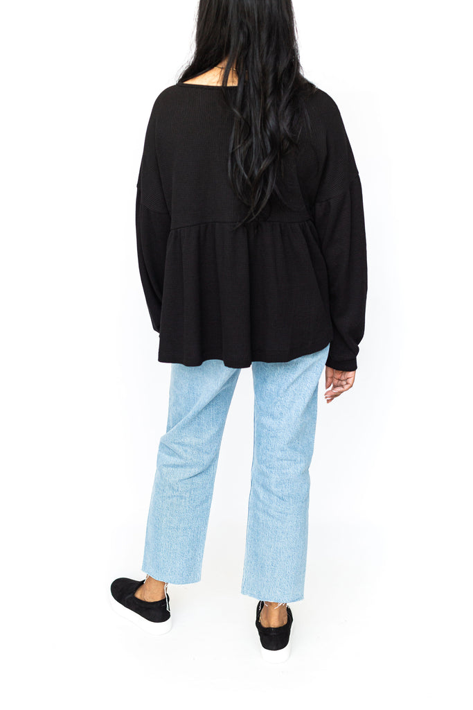 Thermal Peplum Shirt - Black