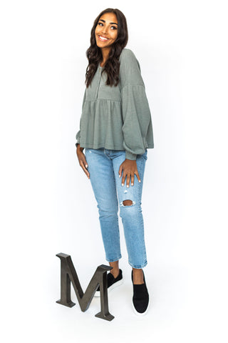 Wrap Ruffle Blouse - Blue