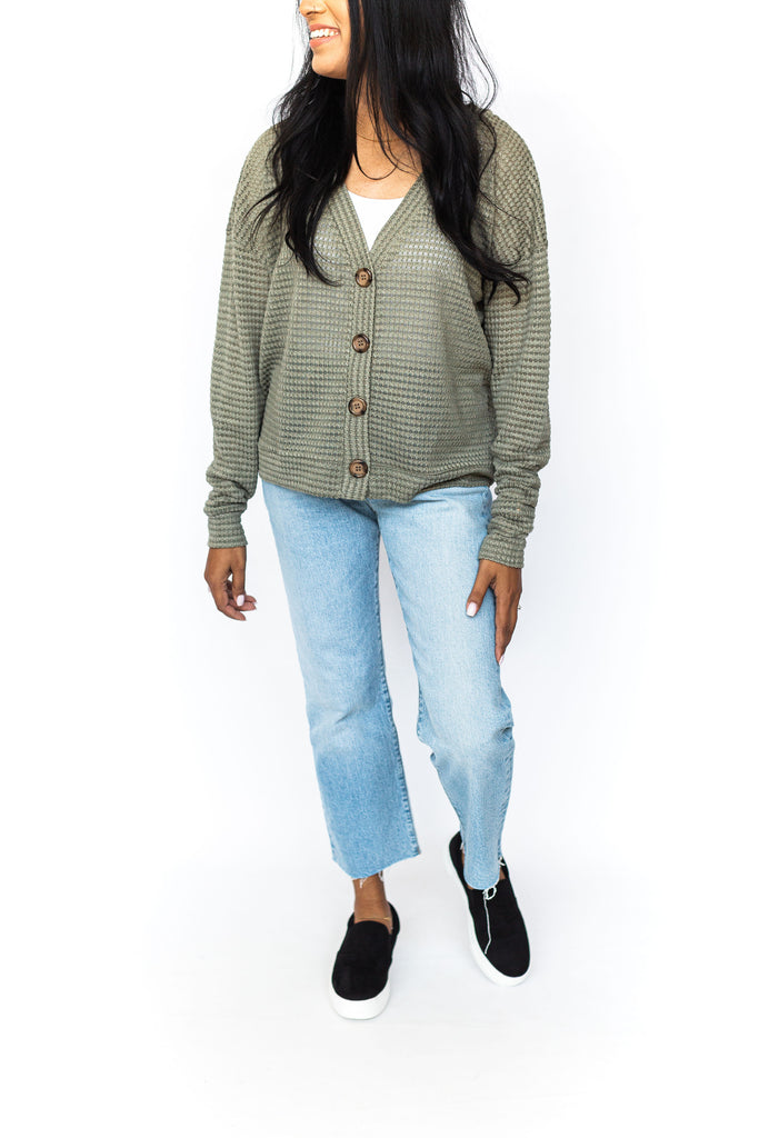 Button Down Waffle Knit - Olive