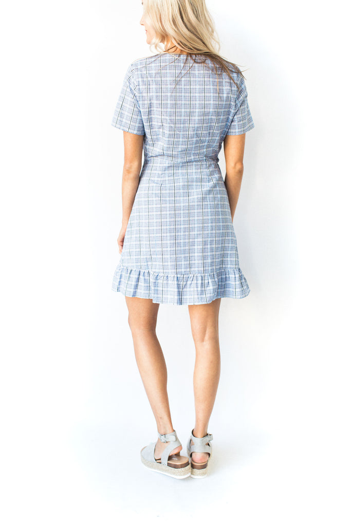 Blue Plaid Wrap Dress