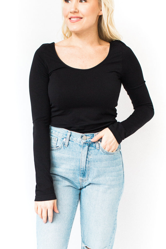 Long Sleeve Fitted Cami - Black