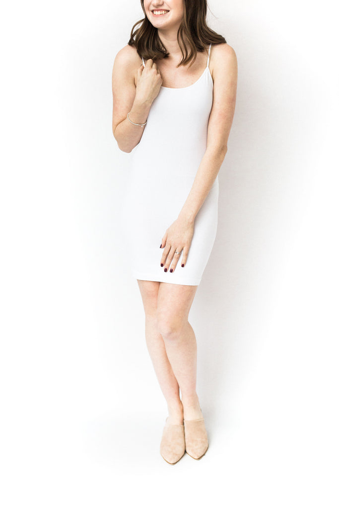 Thin Strap Tank Long - White
