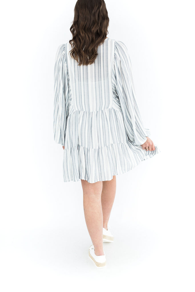 Striped Ruffle Tiered Dress - Blue