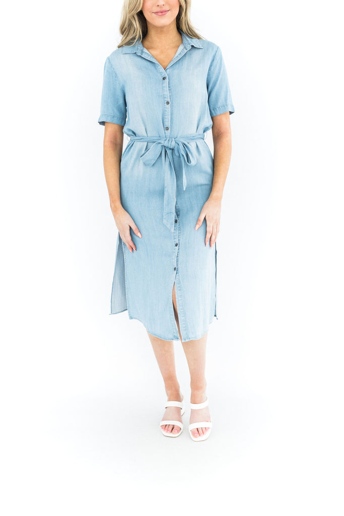 Light Blue Denim Midi Dress