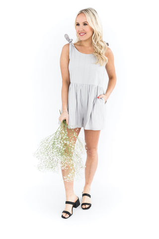 Denim Paperbag Romper - White