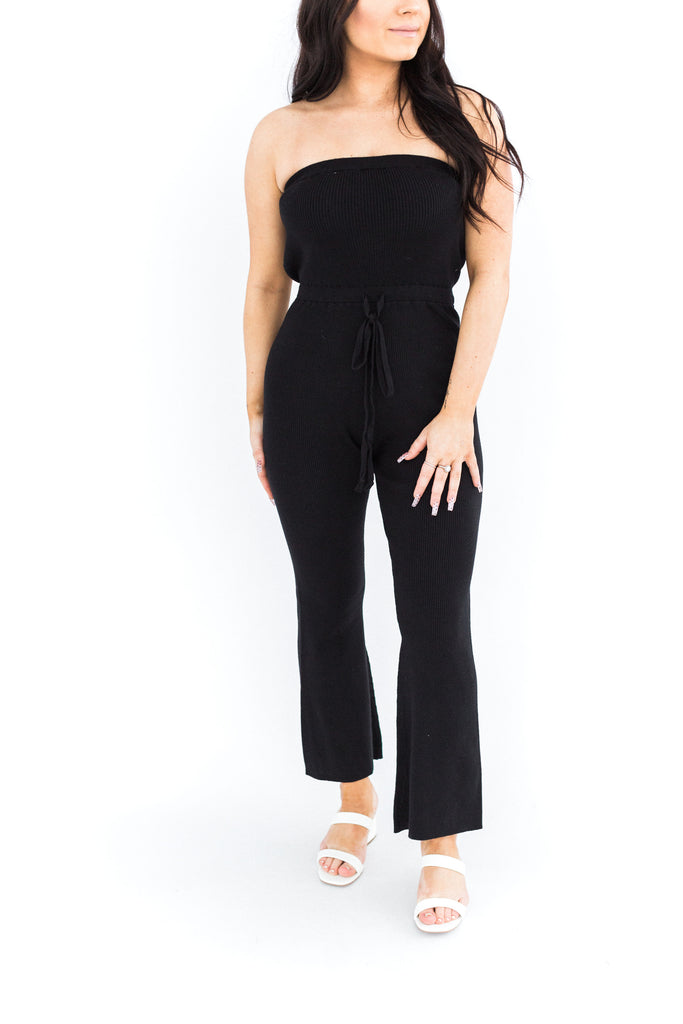 Ribbed Strapless Jumpsuit