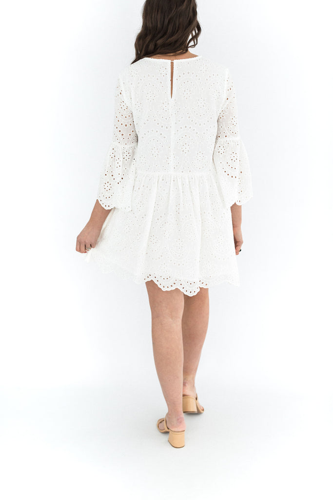 Scallop Detail Eyelet Dress