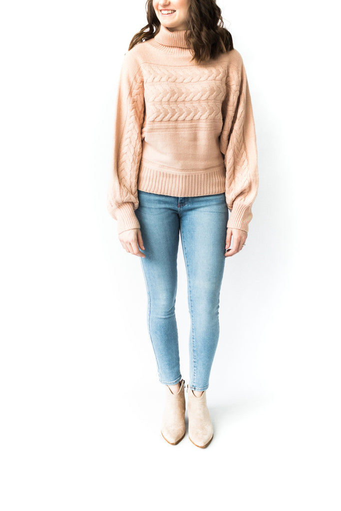 Turtleneck Cable Knit Sweater- Pink