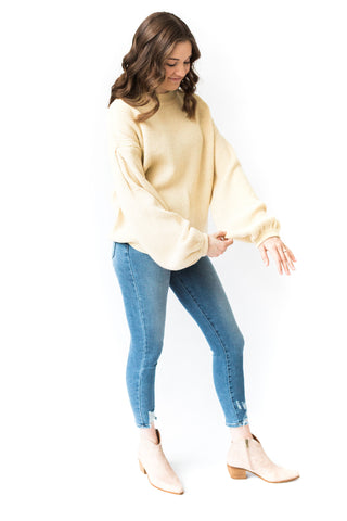 Stripe V- Neck Sweater - Yellow