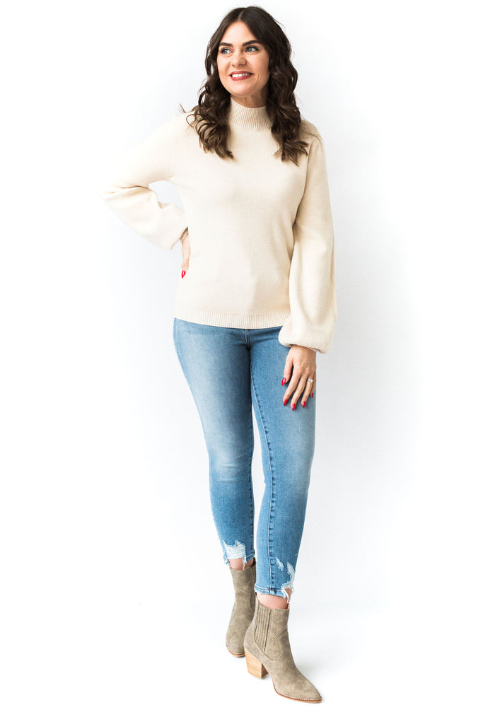 Mockneck Cream Soft Sweater