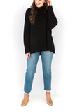 Oversized Mock Neck Sweater - Black