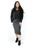 Rib Knit Stretchy Midi Skirt - Charcoal