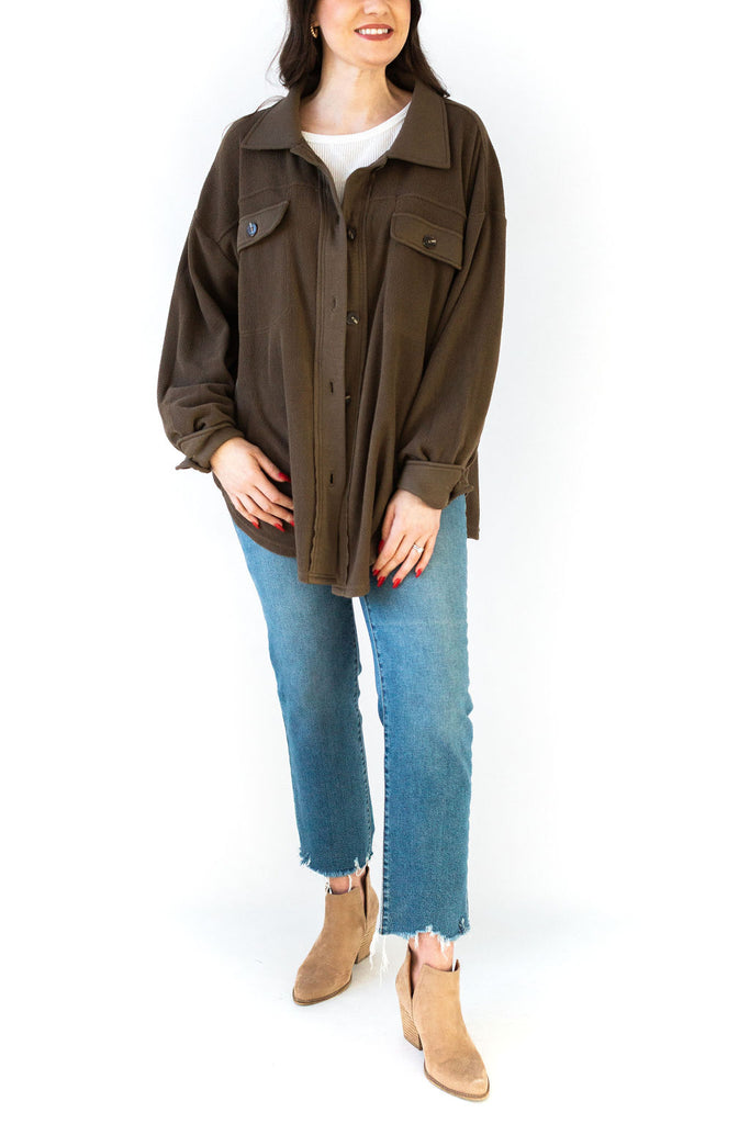 Fleece Button Up - Olive
