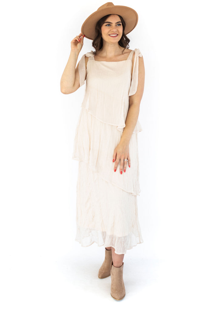 Crinkled Tiered Maxi Dress - Cream