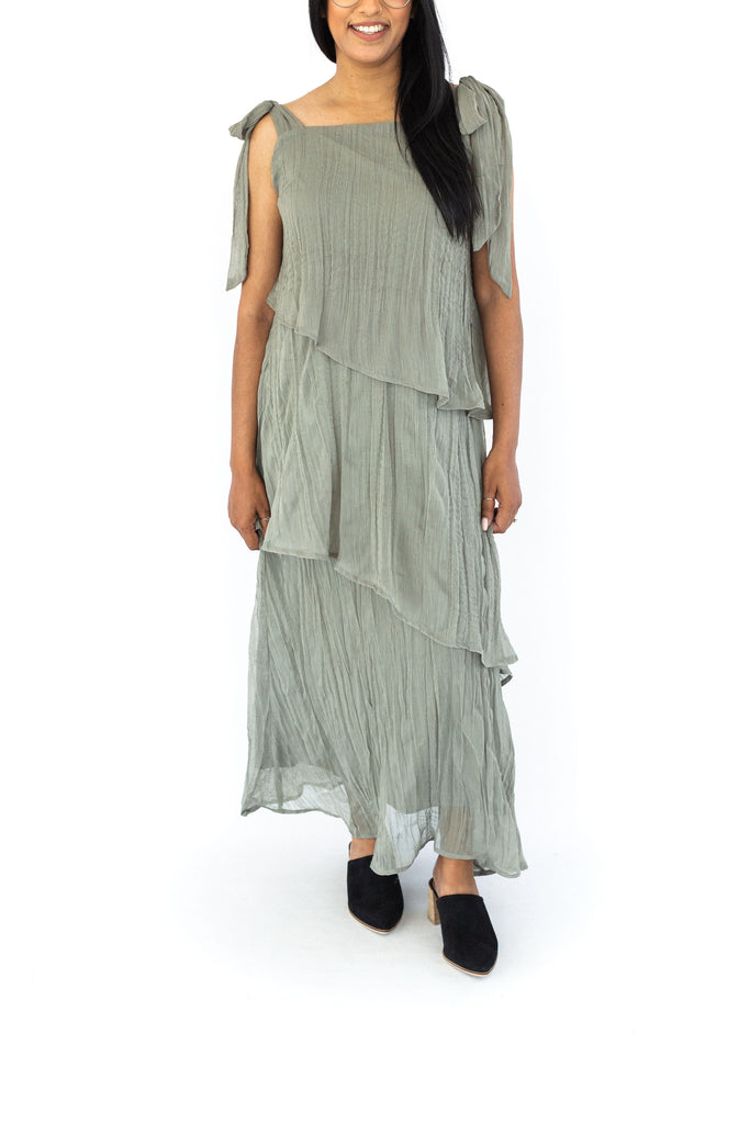 Crinkled Tiered Maxi Dress - Olive
