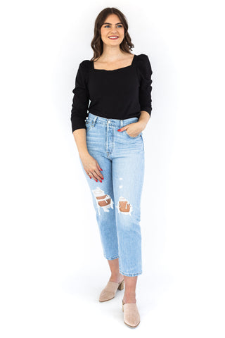 Puff Sleeve Button Down Top - Black