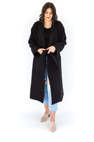 Classic Coat with Single Button - Black