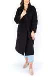 Open Coat with Waist Tie - Black