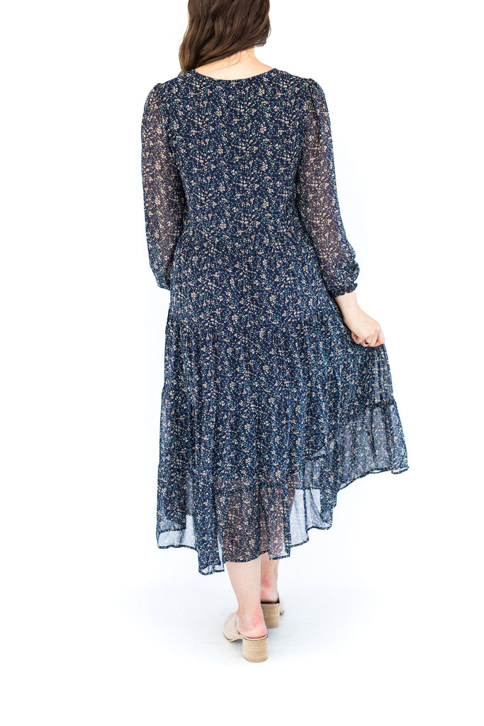 Floral Tiered Midi Dress - Navy