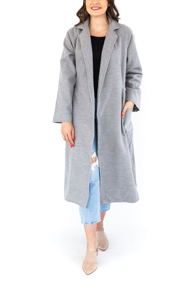 Open Coat with Waist Tie - Grey