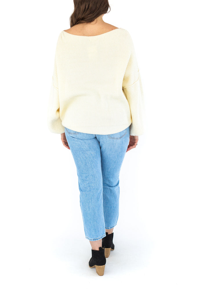 Boat Neck Cable Sweater - Cream