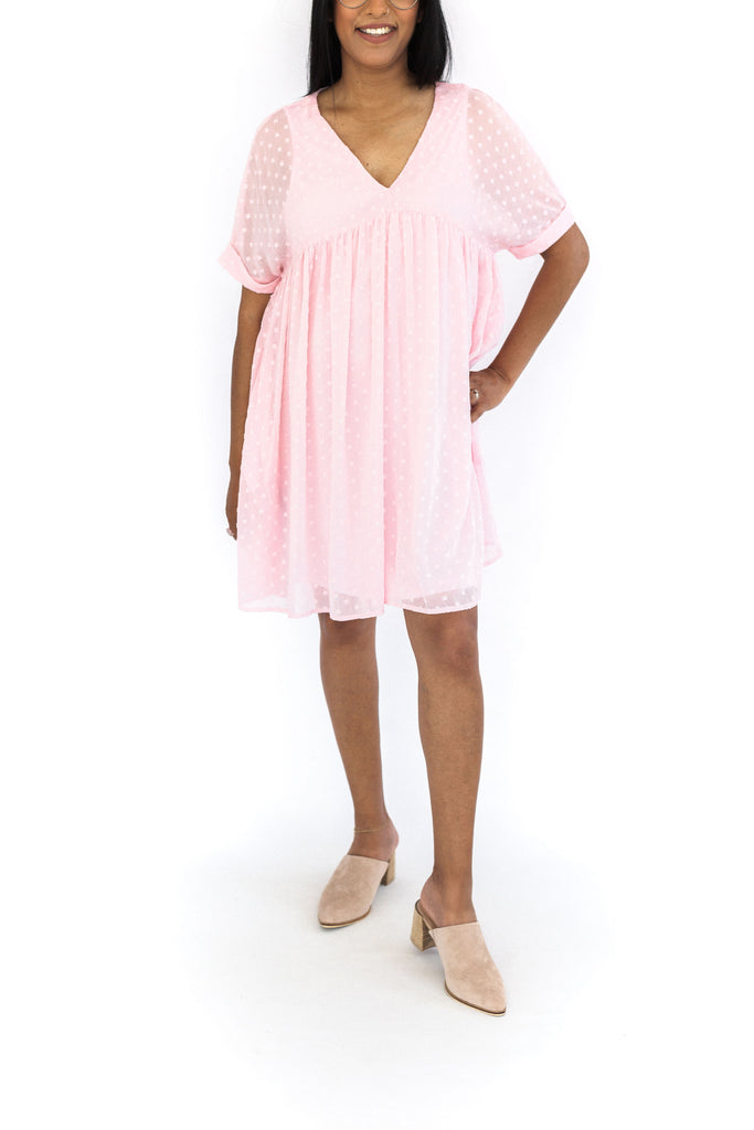Textured V-Neck baby Doll - Pink
