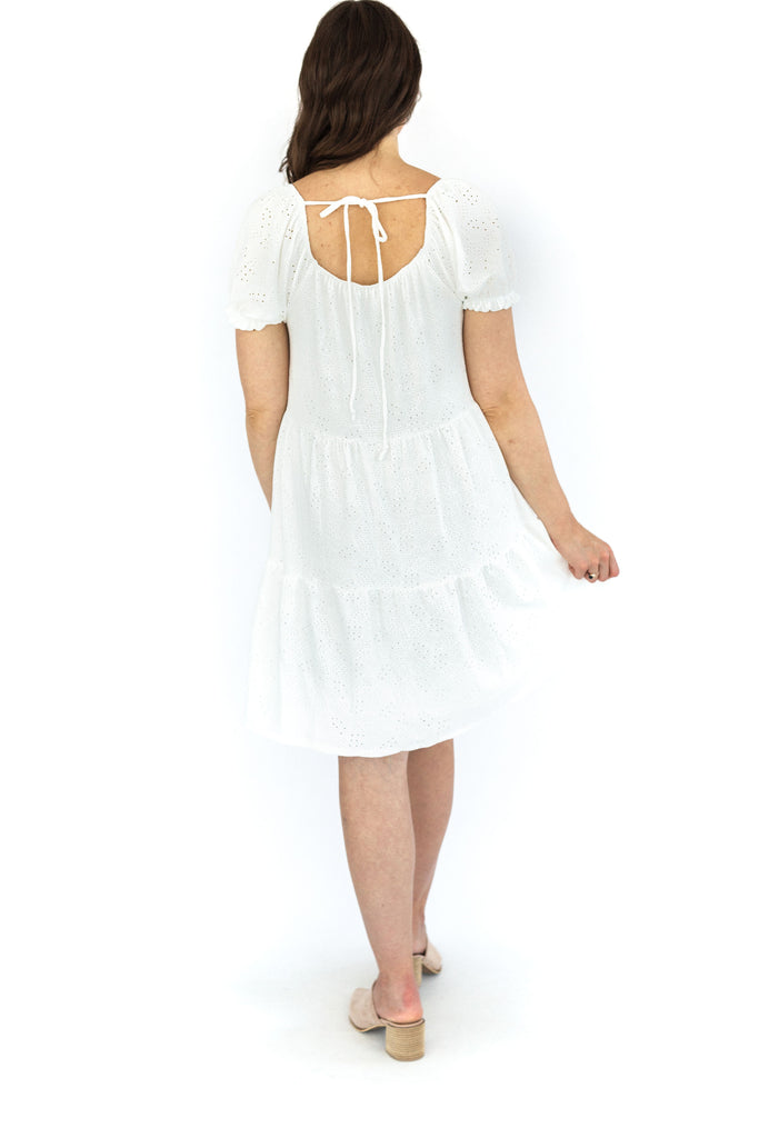 Solid Eyelet Tiered Dress