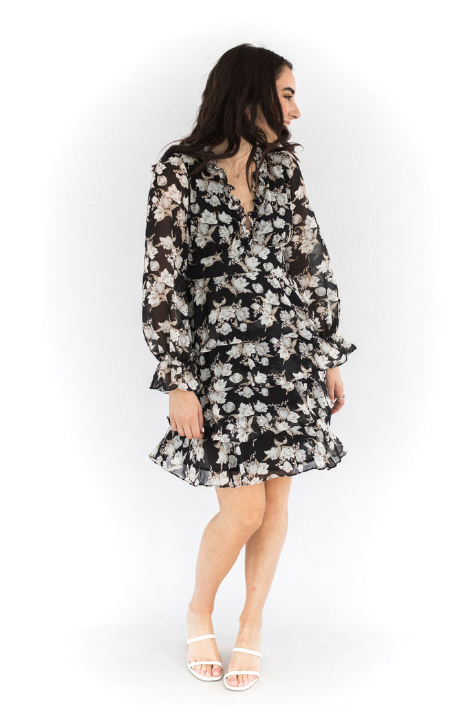 Flower Printed Tiered Ruffle Mini Dress