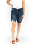 Distressed Mid-Rise Bermuda Shorts