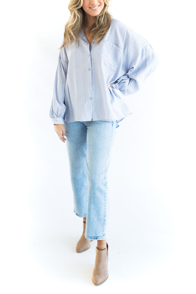 Wide Stripe Shirt - Blue