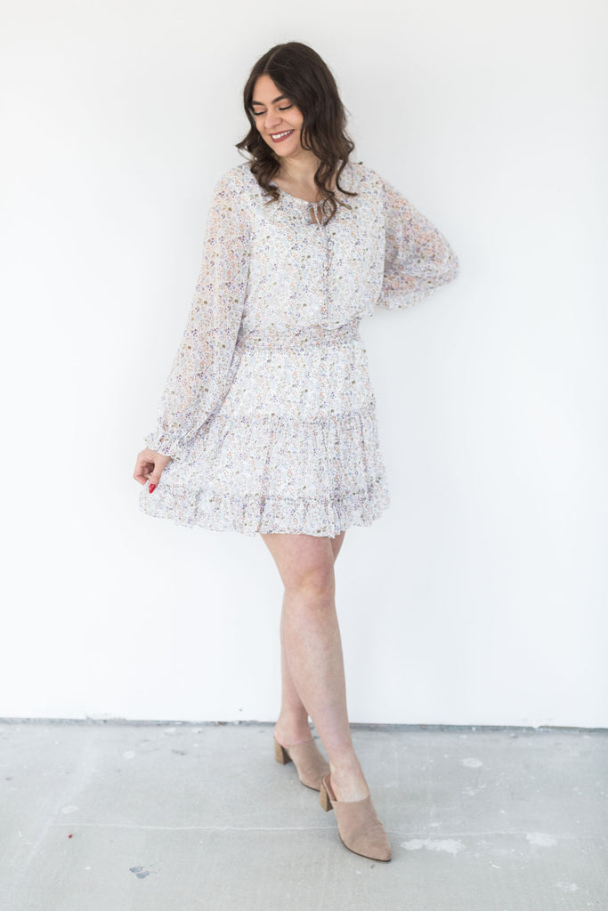 Long Sleeve Tiered Floral Dress