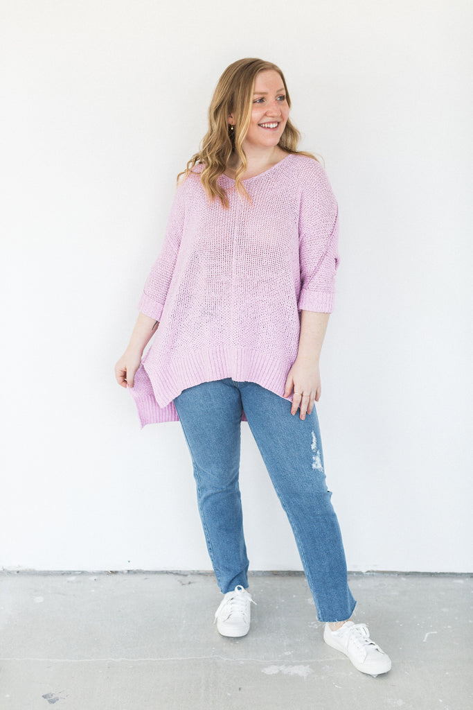 3/4 Sleeve High Low Knit Sweater - Lilac