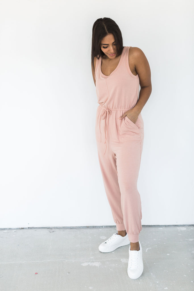 Sleeveless Jumpsuit with Pockets - Blush