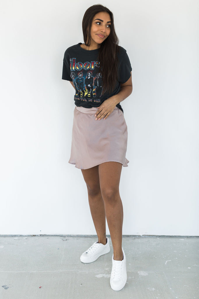 Satin Skirt with Short Underlay - Taupe