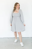 Grey Crinkled Textured Square Neck Dress
