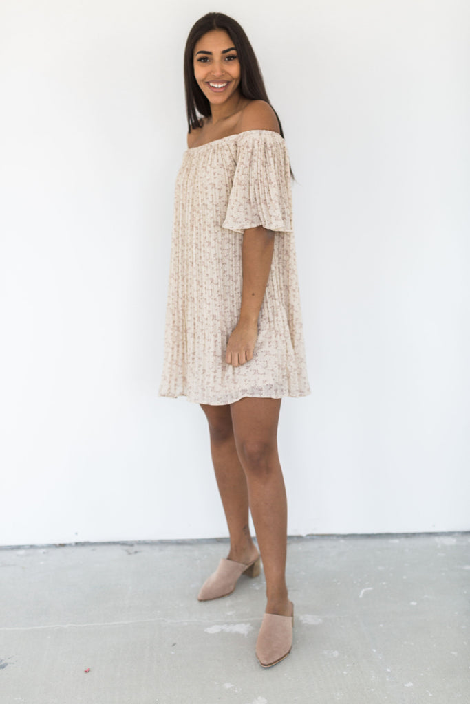 Pleated Off The Shoulder Dress - Taupe