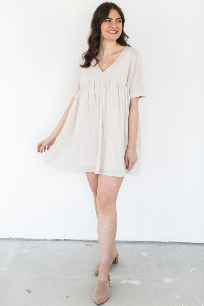 V-Neck Babydoll Dress - Natural