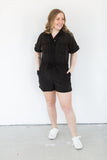 Short Sleeve Button Down Romper - Black