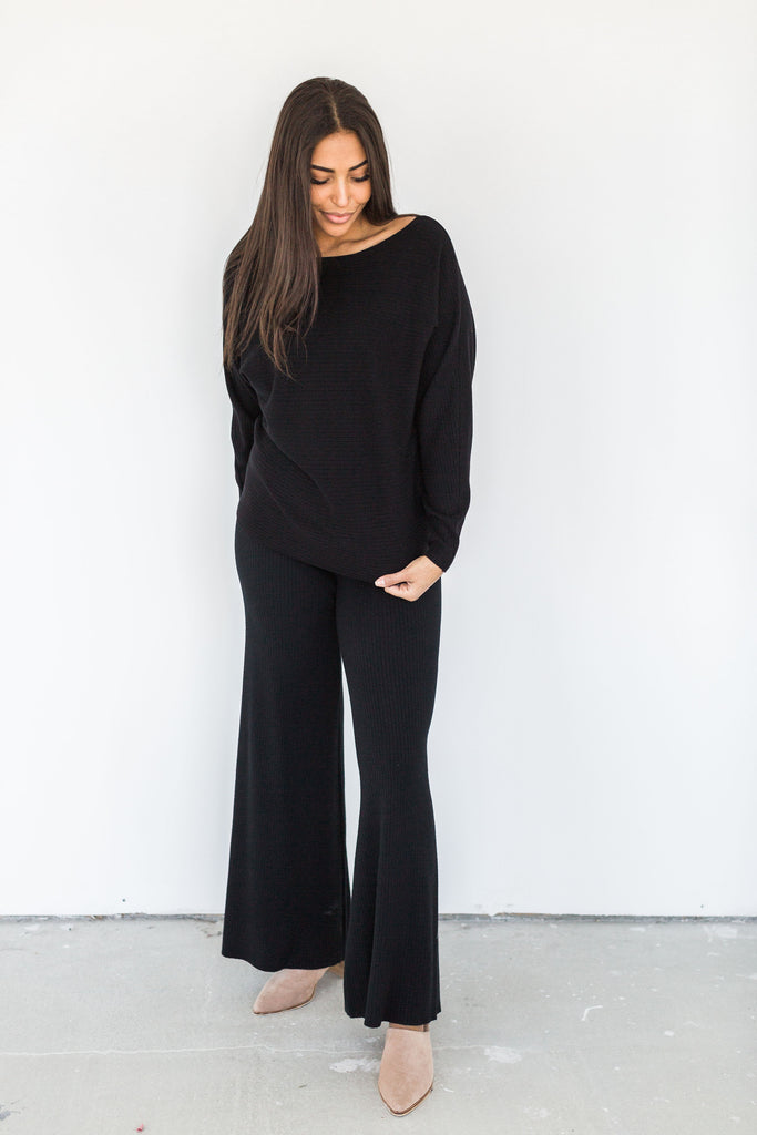 Ribbed Knit High Waisted Pant - Black