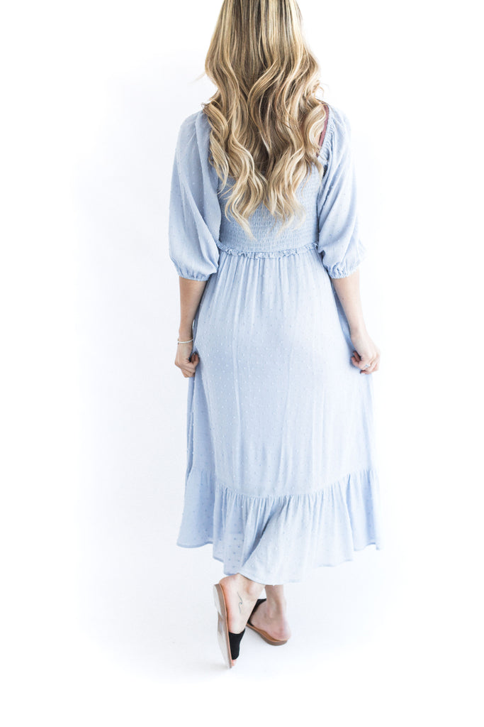 Smocking Midi Dress - Blue